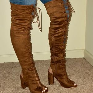Camel Lace Up Knee High Boots